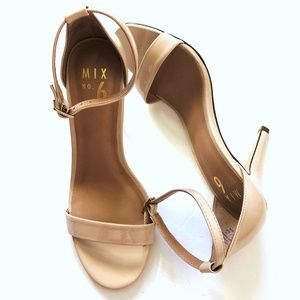 Mix No. 6  PATENT LEATHER NUDE STRAPPY HEELS